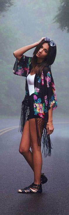 Floral Semi-sheer Chiffon Kimono