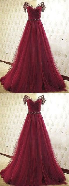 Burgundy Prom Dresses A-line Scoop Floor-length Tulle Sequins Sexy Prom Dress/Evening Dress,HS137  #fashion#weddingdress#shopping#promdress#eveningdress#promgowns#cocktaildress