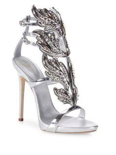 GIUSEPPE ZANOTTI Crystal-Embellished Metallic Leather Wing Sandals. #giuseppezanotti #shoes #sandals