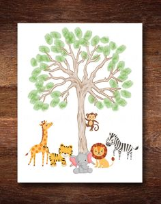 A personal favorite from my Etsy shop https://www.etsy.com/listing/384792376/jungle-safari-thumbprint-baby-shower