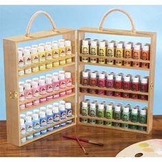 Paint Caddy, I want this. Need the paint storage. Acrylic Paint Storage, Craft Paint Storage, Art Storage, Storage Ideas, Craft Room Organisation, Sewing Room Organization, Organizing, Sewing Room Design, Cardboard Crafts