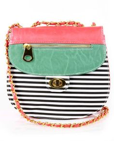 Cute Striped Purse - Coral Purse - Vegan Purse -