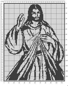 Divine Mercy Image free crochet filet pattern diagram
