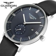 GUANQIN Fashion Brand New Luxury Man Quartz Watch Big Dial Leather Strap Sport Casual Men Wristwatch