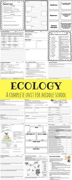 A complete ecology unit for middle school including presentations, student notes, activities, projects, and assessments! Science Worksheets, Science Resources, Teaching Science, Life Science, Science Ideas, Activities, Emergency Sub Plans, School Images, Middle School Science