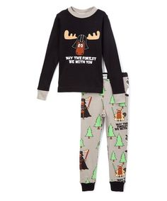 Lazy One Black May the Forest Be With You Pajama Set - Toddler & Kids | zulily
