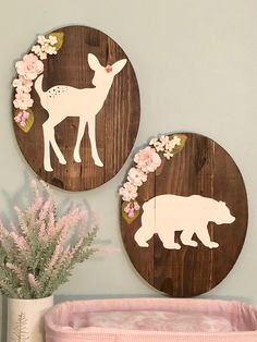 Blush pink woodland set of woodland animals, fawn and bear wall decor, blush pink nursery, girl nursery https://www.etsy.com/listing/574983430/fawn-and-bear-rustic-sign-set-with-blush