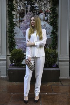 Winter whites in Denver's charming and historic Larimer Square: Derek Lam pants and Who What Wear top from Target
