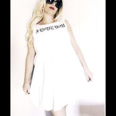 I LOVE YOU Coolest white crisp skater style dress zip back size M / 8 reads in cool old English I LOVE YOU       MINT CONDITION  NON STRETCH Dresses Mini