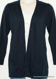 GAP Womens Size XL Cardigan Sweater Button Down Navy Long Sleeves Wool Blend #GAP #Cardigan