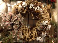 Winter burlap wreath with cotton, bells and pine cones~natural burlap and cotton wreath~winter cotton burlap