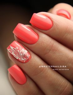 Nail Art Designs and Colors for Summer - Nails - Coral Nails Glitter, Coral Nail Art, Coral Nails With Design, Red Nails, Fabulous Nails, Perfect Nails, Flower Nail Designs, Nail Art Designs, Gel Nagel Design