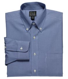 Impartial Classic Fit Blue Herringbone Plaid French Cuff Cotton Dress Shirt Dress Shirts