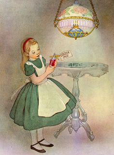 """Drink Me"" illustration by Marjorie Torrey (American, 1899-?) for a 1955 edition of 'Alice in Wonderland' by Lewis Carroll."