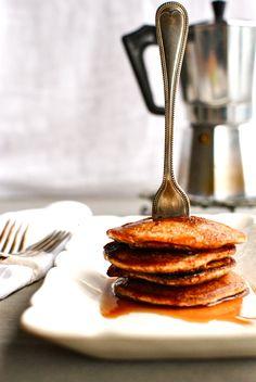 golden apple pie pancakes with salted caramel sauce