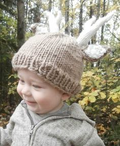 Free knitting pattern for Deer Baby Hat with antlers