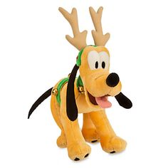 """disney parks holiday christmas pluto reindeer small 7"""" plush new with tags"""