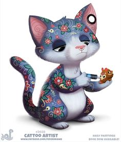 Daily Paint Cattoo Artist by Cryptid-Creations on DeviantArt Cute Food Drawings, Cute Animal Drawings Kawaii, Cute Fantasy Creatures, Cute Creatures, Baby Animals, Cute Animals, Animal Puns, Pretty Art, Cute Illustration