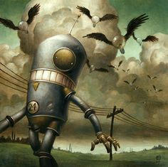 these robot paintings scattered with symbols by artist Brian Despain. Robot Illustration, Illustrations, Diesel Punk, Cyberpunk, Science Fiction, Arte Lowbrow, Robot Painting, Arte Robot, Digital Art Gallery