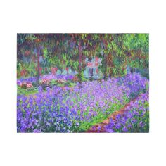 Monet Garden at Giverny Floral Painting Cotton Linen Wall Tapestry 80
