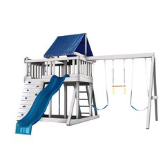 This Monkey Playsystem Package swing set from Congo is a premium, ready-to-assemble polymer coated wooden playset. This swing set features hours of fun with the wave slide, rock wall, fort and sand box.