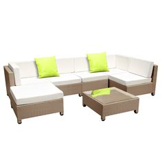 Hawaii 6 Seater PE Rattan Outdoor Lounge Set by Dwell Outdoor. Get it now or find more Outdoor Sofas & Lounge Sets at Temple & Webster. Outdoor Furniture Online, Affordable Outdoor Furniture, Outdoor Wicker Furniture, Garden Furniture Sets, Outdoor Dining Set, Outdoor Lounge, Wood Patio Chairs, Outdoor Patio Umbrellas, Beige Cushions