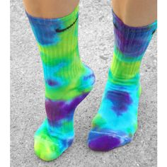 Purple Haze Tie Dye Nike Socks, custom tie dye socks, Purple, Lime,... ($15) ❤ liked on Polyvore