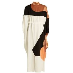 Roksanda Enga drawstring-waist silk midi dress (€1.635) ❤ liked on Polyvore featuring dresses, white multi, silk evening dresses, holiday dresses, white midi dress, white dresses and evening dresses