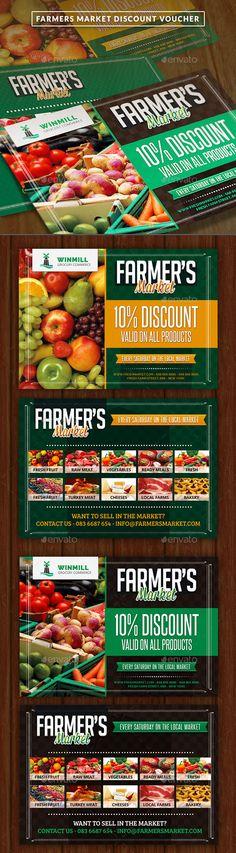 Farmer's Market Commerce Discount Voucher Template #design Download: http://graphicriver.net/item/farmers-market-commerce-discount-voucher/12156198?ref=ksioks