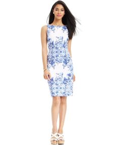 Adrianna Papell Sleeveless Placed Floral Print Sheath Dress | Clothing