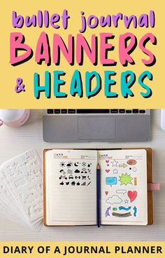 Make your bullet journal look incredible with these easy bullet journal banner and header ideas! #bulletjournalbanners #bulletjournalideas #bujo Bullet Journal Headers And Banners, Bullet Journal Layout Templates, Bullet Journal Banner, Bullet Journal Printables, Bullet Journals, Banner Drawing, Header Banner, Bullet Journal How To Start A, Journal Quotes