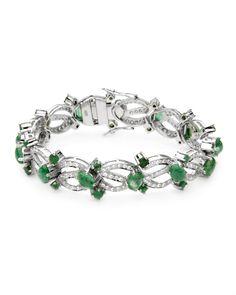 Ladies Emerald Bracelet Designed In 925 Sterling Silver - Sales Events - Modnique.com