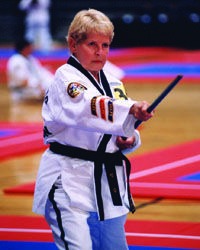 MARJORIE TEMPLETON, 82 Tae kwon do black belt, Southgate, Ky.  Three times a week, 82-year-old Marjorie Templeton hits the gym for more than an hour of weights, cardio and stretching. Those are her easy days.  Other days, she's at the tae kwon do school she founded near Cincinnati, teaching and supervising four hours of martial arts classes.  On vacation, she scuba dives.