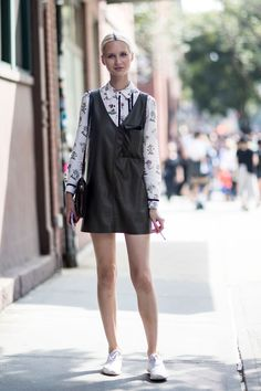 vintage blouse and v neck mini shift dress paired with favourite sneakers || Saved by Gabby Fincham ||
