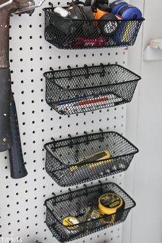 Garage Storage Shelves, Garage Storage Solutions, Shed Storage, Diy Storage, Storage Ideas For Garage, Small Garage Ideas, Small Storage, Storage Baskets, Garage Workshop Organization