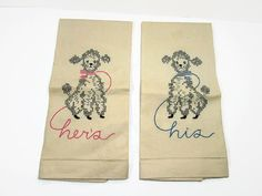 Vintage Linen Tea Towels Embroidered Poodles His by GirlPickers