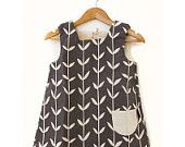 Cloud Birds Smock Dress for 2-3 year old - verdigris...great yardage too...