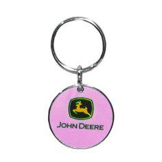 Pink John Deere Key Chain Ring Lanyard Handmade Custom Designer