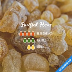 Purified Home - Essential Oil Diffuser Blend Could sub orange or grapefruit.