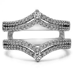 Double Row Chevron Style Anniversary Ring Guard (0.53 Carat) - top-ring-guards - Best Sellers