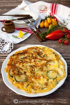RETETE CU DOVLECEI | Diva in bucatarie Jamie Oliver, Ricotta, Quiche, Zucchini, Food And Drink, Breakfast, Morning Coffee, Quiches, Morning Breakfast