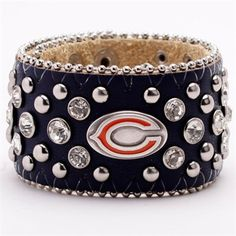 Chicago Bears Ladies Glitz Leather Cuff Bracelet - Navy Blue