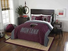 NCAA Grizzlies Comforter Full Queen Set Burgundy Red Grey Sports Patterned College Football Themed Bedding Team Logo Fan Merchandise Athletic Team Spirit Fan Polyester Unisex
