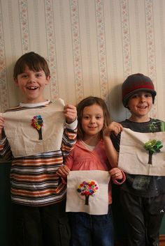 """How to Teach Kids to Sew on Buttons--Button """"Trees""""--by Maureen Cracknell Handmade"""