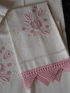 Hand Embroidery, Machine Embroidery, Decorative Towels, Pink Tulips, Pink Flowers, Linens And Lace, Knit Crochet, Crochet Trim, Needlework