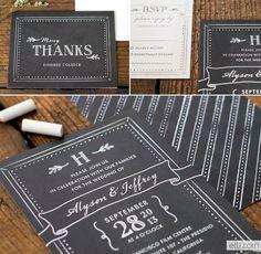 Sweet Chalkboard wedding invitation suite