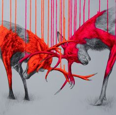 Fluorescent combined Media Animals with the aid of Louise McNaught