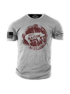 "Bacon Freedom T-Shirt - Grunt Style Military Men's Grey Tee Shirt <a href=""http://www.bdcost.com/men+shirts"" rel=""nofollow"" target=""_blank"">www.bdcost.com/...</a>"