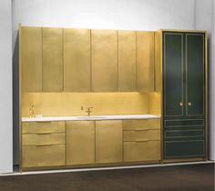 Amuneal Debuts Brass Kitchen. This modern yet classic kitchen is amazing!