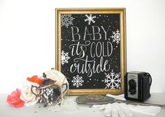 Christmas Decor Wall Art, Printable Decor, Baby Its Cold Outside, Holiday typographic print INSTANT DOWNLOAD by WordsOfEndearment on Etsy